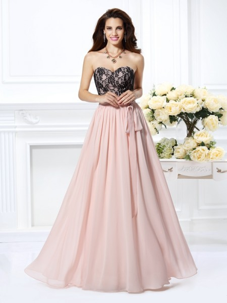 A-Line/Princess Sweetheart Lace Dress with Long Chiffon