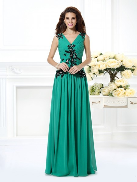 A-Line/Princess V-neck Beading Applique Dress with Long Chiffon