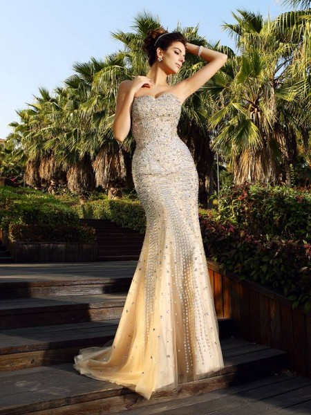 Trumpet/Mermaid Sweetheart Beading Long Satin Dress