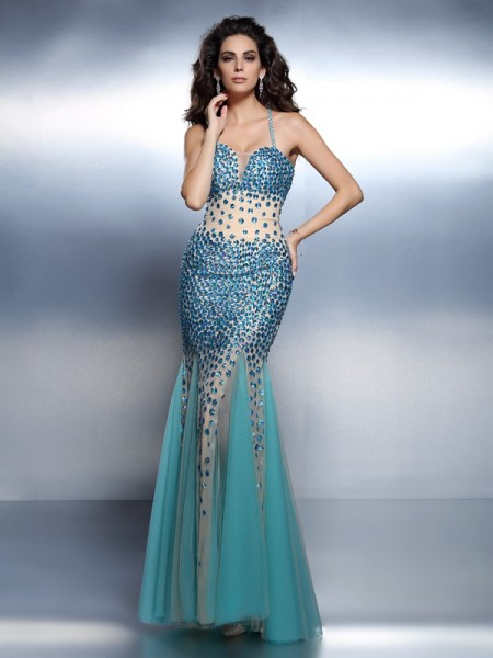 Trumpet/Mermaid Spaghetti Straps Long Satin Dress