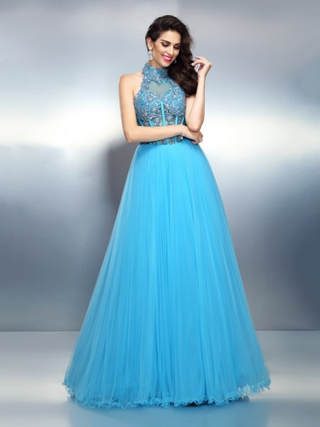 A-Line/Princess High Neck Beading Long Satin Dress