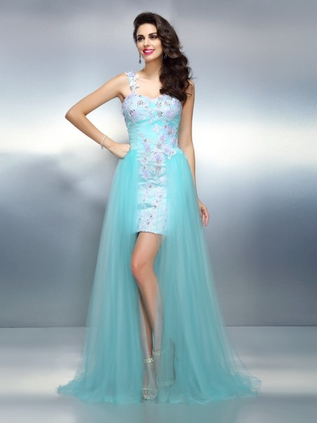 Sheath/Column One-Shoulder Applique Long Elastic Woven Satin Dress