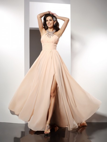 A-Line/Princess Jewel Ruffles Dress with Long Chiffon