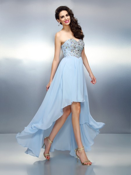 A-Line/Princess Sweetheart Ruffles High Low Chiffon Cocktail Dress