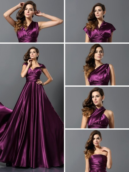 A-Line/Princess Pleats Long Silk like Satin Bridesmaid Dress