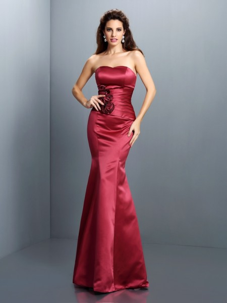 Trumpet/Mermaid Strapless Long Satin Dress