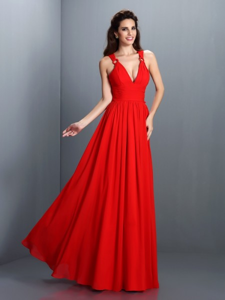 A-Line/Princess V-neck Pleats Bridesmaid Dress with Long Chiffon