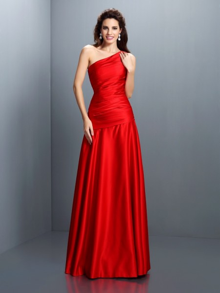 A-Line/Princess One-Shoulder Pleats Long Satin Dress