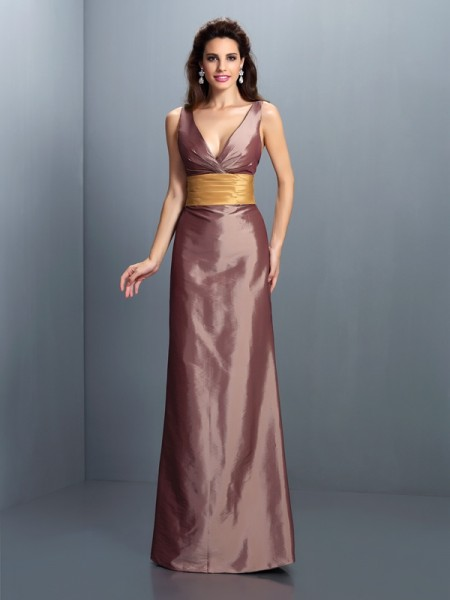 Sheath/Column V-neck Pleats Long Taffeta Dress