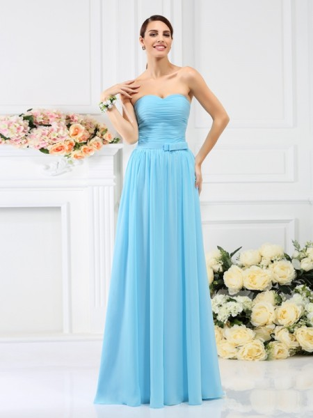 A-Line/Princess Sweetheart Pleats Bridesmaid Dress with Long Chiffon