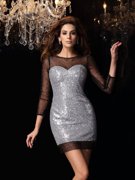 Sheath/Column Scoop Beading Short Sequins Cocktail Dress