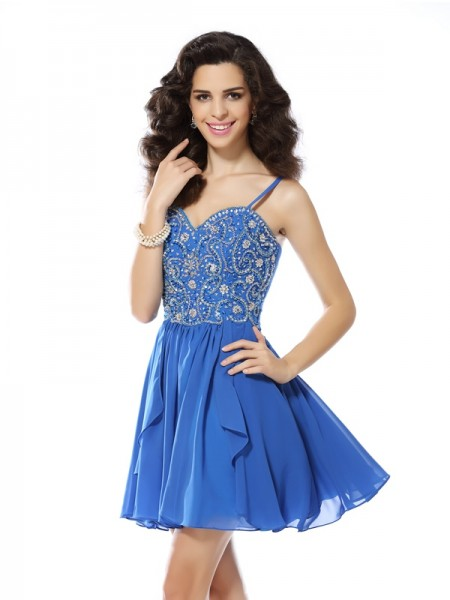 A-Line/Princess Spaghetti Straps Beading Short Chiffon Cocktail Dress