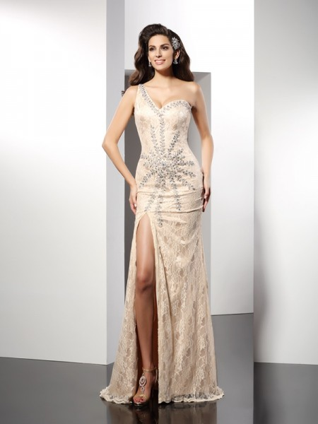 Sheath/Column One-Shoulder Long Elastic Woven Satin Dress