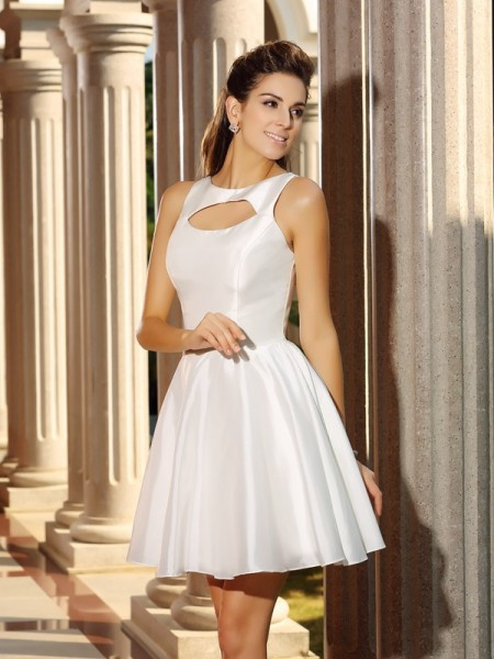 A-Line/Princess High Neck Short Satin Cocktail Dress