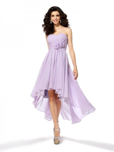 A-Line/Princess Sweetheart High Low Chiffon Cocktail Dress