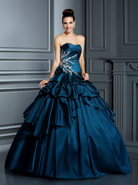 Ball Gown Strapless Beading Long Taffeta Quinceanera Dress