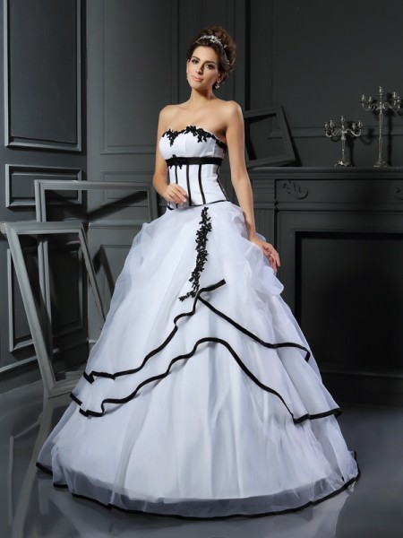 Ball Gown Sweetheart Applique Long Satin Wedding Dress