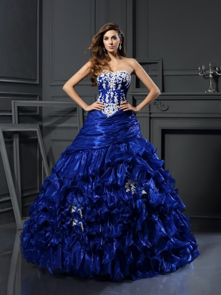 Ball Gown Sweetheart Beading Applique Long Tulle Quinceanera Dress