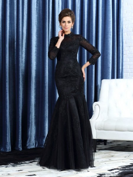 Trumpet/Mermaid High Neck Applique Long Sleeves Long Tulle Mother of the Bride Dress
