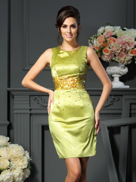 Sheath/Column Scoop Beading Short Silk like Satin Mother of the Bride Dress