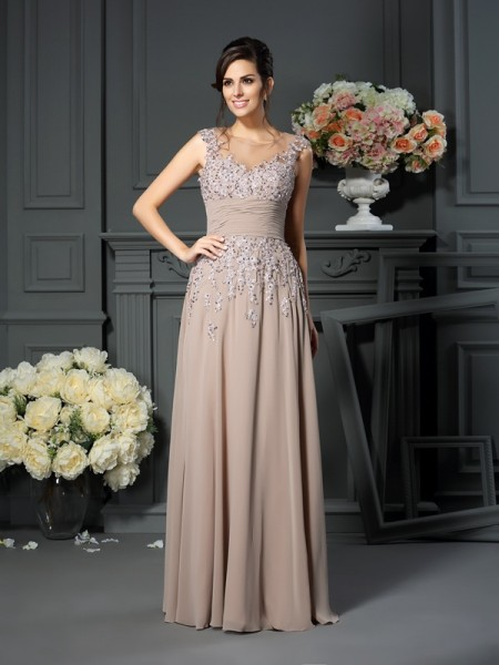 A-Line/Princess Scoop Beading Long Silk like Satin Mother of the Bride Dress