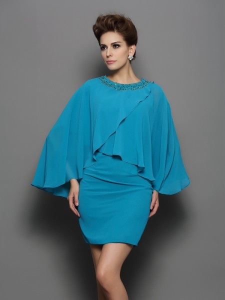 Sheath/Column Scoop Beading Long Sleeves Short Silk like Satin Mother of the Bride Dress