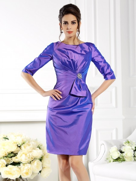 Sheath/Column Bateau 1/2 Sleeves Short Taffeta Mother of the Bride Dress