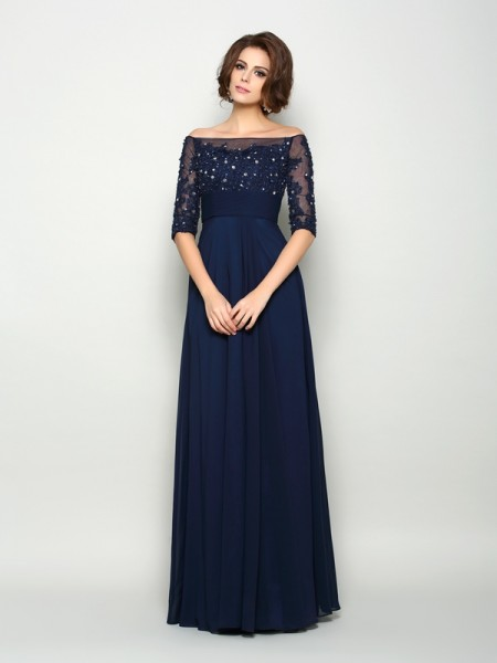 A-Line/Princess Beading 1/2 Sleeves Mother of the Bride Dress with Long Chiffon