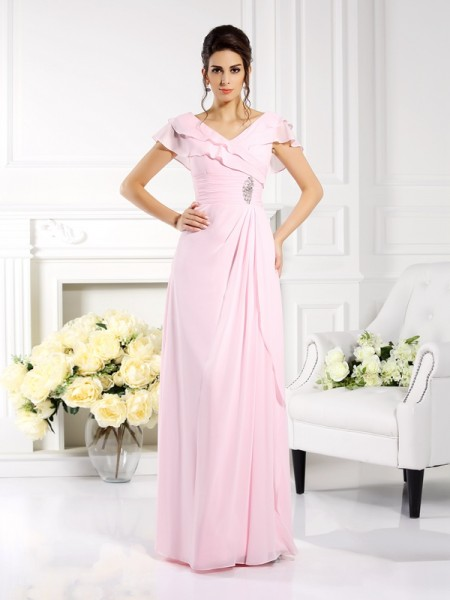 A-Line/Princess V-neck Ruffles Short Sleeves Mother of the Bride Dress with Long Chiffon