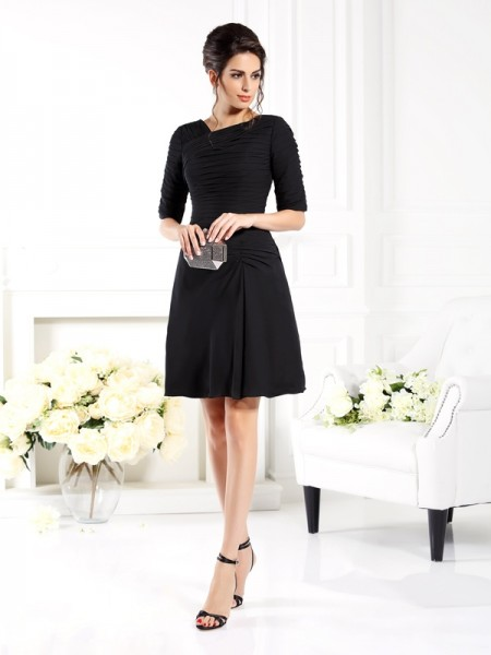 Sheath/Column Ruched 1/2 Sleeves Short Chiffon Bridesmaid Dress