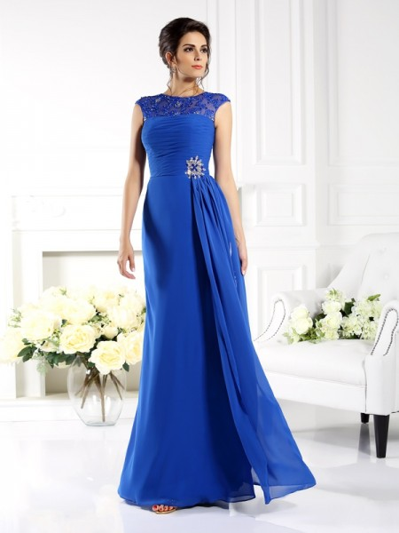 A-Line/Princess Bateau Applique Mother of the Bride Dress with Long Chiffon