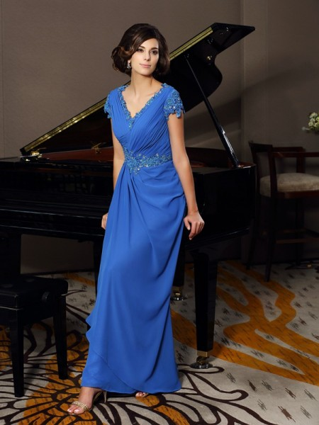 A-Line/Princess V-neck Beading Applique Short Sleeves Mother of the Bride Dress with Long Chiffon