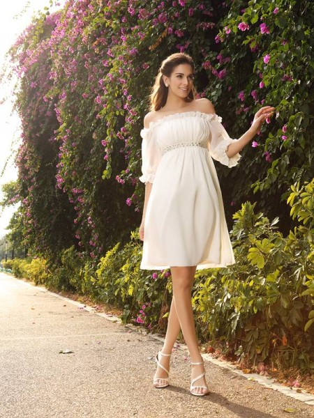 A-Line/Princess Beading 1/2 Sleeves Short Chiffon Wedding Dress