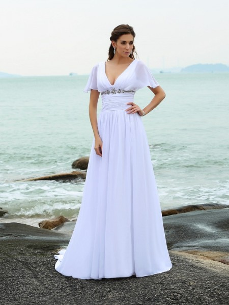 A-Line/Princess V-neck Ruffles Short Sleeves Beach Wedding Dress with Long Chiffon