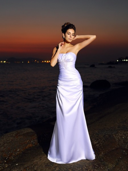 Trumpet/Mermaid Sweetheart Long Satin Beach Wedding Dress