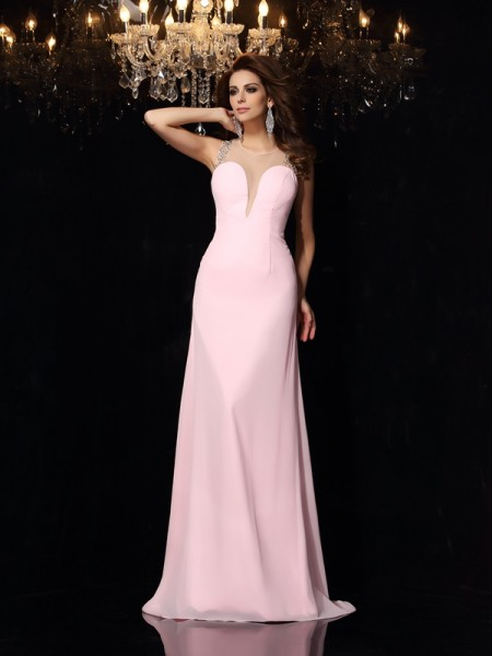 Trumpet/Mermaid Scoop Beading Dress with Long Chiffon