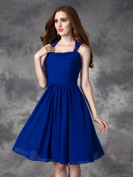 A-line/Princess Straps Ruffles Short Chiffon Bridesmaid Dress