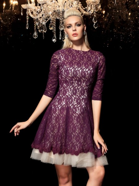 A-Line/Princess Sheer Neck Lace 1/2 Sleeves Short Lace Cocktail Dress