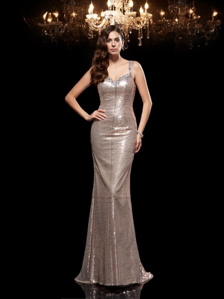 Sheath/Column Straps Beading Long Sequins Dress