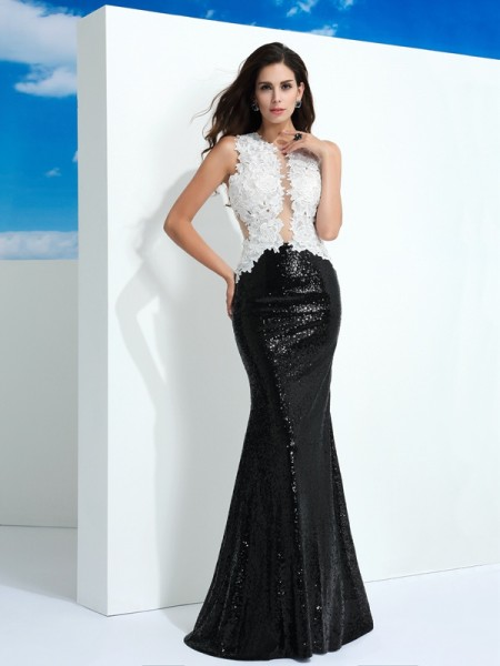 Sheath/Column Scoop Paillette Long Lace Dress