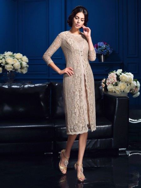 Sheath/Column Scoop Lace Short Taffeta Mother of the Bride Dress