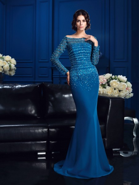 Sheath/Column Beading Long Sleeves Mother of the Bride Dress with Long Chiffon