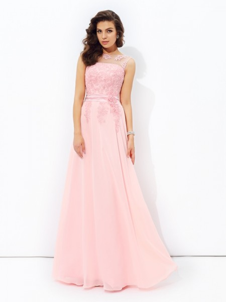 A-line/Princess Scoop Applique Chiffon Dress