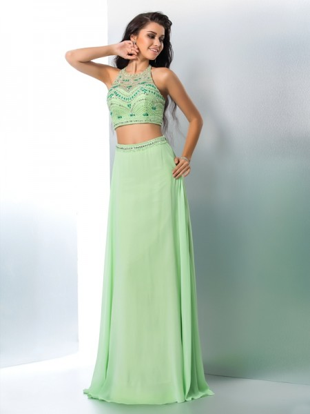 A-Line/Princess Halter Beading Chiffon Two Piece Dress
