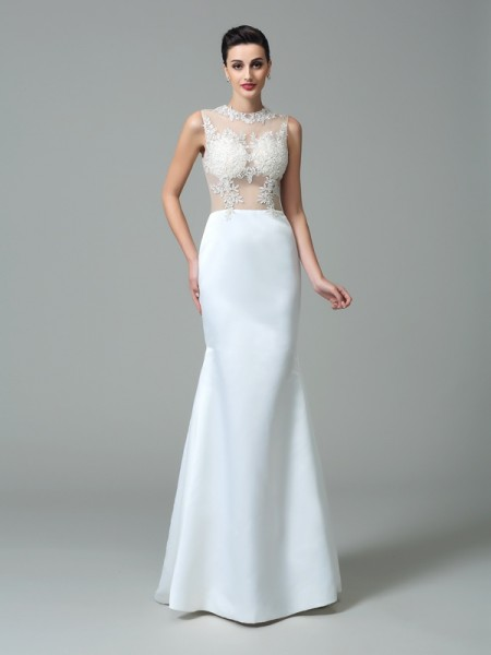 Sheath/Column Jewel Applique Satin Dress