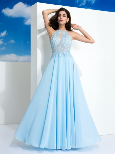 A-Line/Princess Spaghetti Straps Applique Chiffon Dress