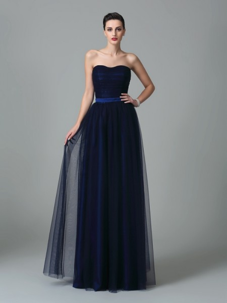 A-Line/Princess Sweetheart Ruffles Long Net Bridesmaid Dress