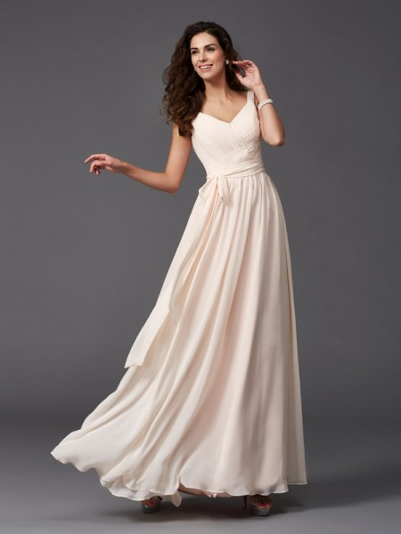 A-Line/Princess Straps Sash/Ribbon/Belt Chiffon Bridesmaid Dress