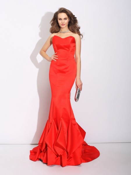 Trumpet/Mermaid Sweetheart Layers Satin Dress