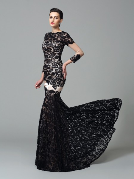 Sheath/Column High Neck Lace Elastic Woven Satin Dress